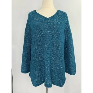 Chico's V Neck Soft Chenille Sequin Sweater
